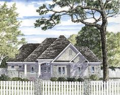 Elevation of Cottage   Hillside   Ranch   Traditional   House Plan 94187