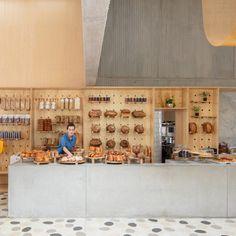 Masa Bakery in Bogota, Colombia by Studio Cadena Interior Walls, Interior Design, Pastel Interior, Concrete Bar, Concrete Walls, Tiny House, Tiered Seating, Yellow Tile, Terrazzo Flooring