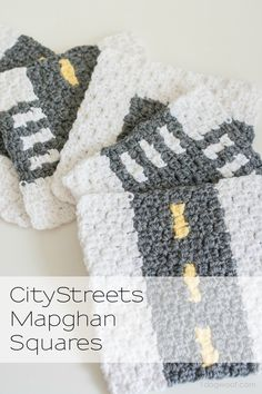 A fun collection of crochet streets to build your own city! CityStreets Mapghan Squares Collection | www.1dogwoof.com