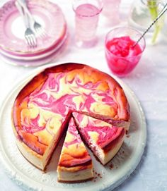 Rhubarb and lemon baked cheesecake