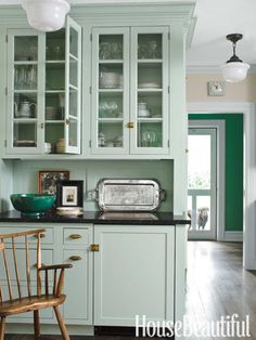Mint kitchen cabinets // 5 Fresh Kitchen Paint Colors -- One Kings Lane Homey Kitchen, Old Kitchen, Farmhouse Style Kitchen, Green Kitchen, Kitchen Paint, Kitchen Cabinets, Glass Cabinets, Farmhouse Kitchens, Green Cabinets
