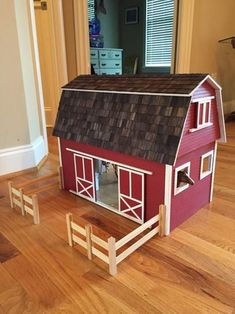 Ruff-n-Rustic Barn Dollhouse Kit 94594 at The Home Depot - Mobile Popsicle Stick Houses, Popsicle Stick Crafts, Craft Stick Crafts, Wooden Toy Barn, Wooden Diy, Barn Wood, Ikea Dollhouse, Wooden Dollhouse Kits, Kids Barn