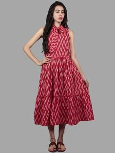 Red White Midi Sleeveless Handwoven Ikat Tier Dress With Pussy Cat Bow Neck - Frock Fashion, Skirt Fashion, Fashion Dresses, Fashion Sewing, Women's Fashion, Indian Designer Outfits, Designer Dresses, Designer Wear, Nice Dresses