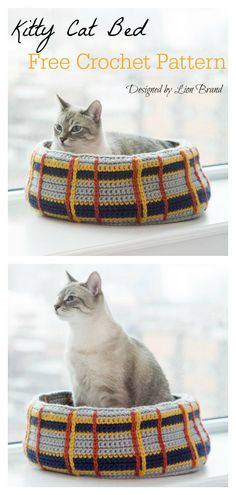 10 Easy Pet Bed Free Crochet Patterns, A collection of Easy Pet Bed Free Crochet Patterns. Crochet these pet bed for your cats or dogs that your little fur family members cannot resist. Crochet Home, Crochet Crafts, Crochet Projects, Free Crochet, Crochet Curl, Crochet Pet, Crochet Pillow, Baby Blanket Crochet, Knitting Patterns Free
