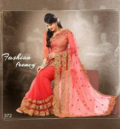 Peach Colour Soft Net With Heavy Jari Embroidery Work Saree With 15% Off... Buy Rs 4760