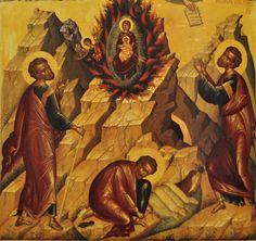 """The Unburnt Bush icon - based on the miracle witnessed by Moses in the Old Testament. In the book of Exodus, God calls Moses on Mount Horeb from the midst of a bush which """"was burning, yet it was not consumed."""" The Church sees the Unburnt Bush on Horeb as a foreshadowing of the Most Holy Theotokos, who gave birth to Christ while still while remaining a virgin. The icon shows her holding her divine Son in the midst of a burning bush. Moses is shown to one side, removing his sandals, for that…"""