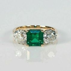 Jewelry OFF! Gold Emerald and Old European Cut Diamond Ring Or Antique, Antique Jewelry, Vintage Jewelry, Antique Rings, Emerald Diamond, Diamond Cuts, Uncut Diamond, Emerald Jewelry, Art Deco Emerald Ring