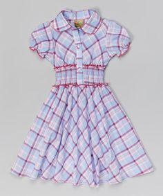 This is so cute, like a western shirt, but in a dress... adorable!!  Love this Lilac Plaid Smocked Dress - Toddler & Girls by Maria Elena on #zulily! #zulilyfinds
