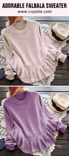 Sweater doesn't have to be boring! You'll be a delightful sight in this. Falbala at bottom looks super cute and pretty. Shop it and check more at cupshe.com~