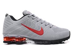 finest selection a9b99 9afc5 Nike Air Shox R4 Flyknit Chaussures de basketball Pas cher Homme Argent Noir  rouge