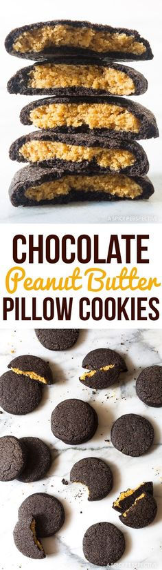 Chocolate Peanut Butter Pillow Cookies Recipe - Large soft chewy chocolate peanut butter cookies. Chocolate on the outside, peanut butter in the middle! via @spicyperspectiv