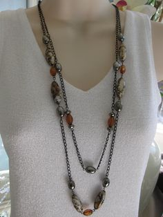 Long Brown Beaded Necklace Black Chain Chunky by RalstonOriginals