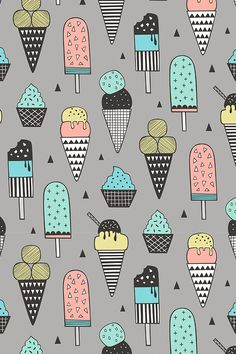 Ice Cream Geometric Triangles on Grey by caja_design. Brightly colored ice cream cones in pink, teal, yellow pastels with geometric shapes. Available on fabric, wallpaper, and gift wrap. Geometric Wallpaper Background, Geometric Wallpaper Iphone, Kids Background, Pastel Wallpaper, Fabric Wallpaper, Ice Cream Wallpaper Iphone, Iphone Wallpaper, Cute Backgrounds For Iphone, Textiles