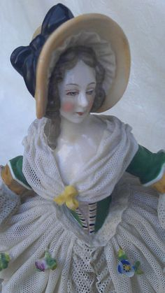 Lovely Antique Dresden Ackermann & Fritze Porcelain Lace Lady Figurine Germany | eBay