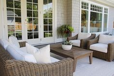 Restoration hardware , patio, Hampton style, French doors, outdoor living space , covered patio
