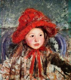Mary Cassatt (American Impressionist painter, 1844–1926) Little Girl in Large Red Hat, c. 1881.