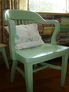 old green painted chair