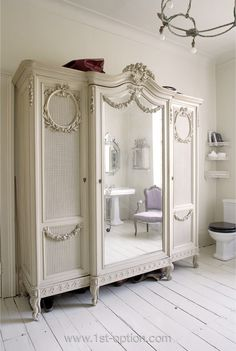 Wonderful Shabby Chic armoire in white with fine French details French Furniture, Vintage Furniture, Painted Furniture, Home Furniture, Furniture Design, French Armoire, White Armoire, Antique Armoire, Tv Armoire