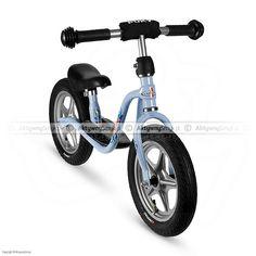 """Błękitny rowerek biegowy Puky LR 1L posiada regulację siodełka od 35 do 45 cm, regulowaną na wysokość kierownicę bez blokady skrętu, pompowane opony 12x2,00"""" i praktyczną nóżkę."""