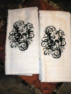 Pair Of Full Size Bath Towels With Large Embroidered Skull Design