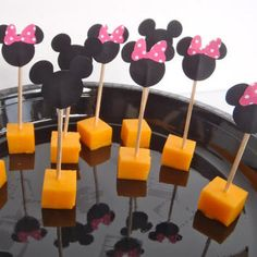 Cheese on a Mickey and Minnie Mouse stick