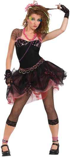 '80s Diva Halloween costume: includes dress, leggings, chain belt, necklace, hairpiece and wristlets.