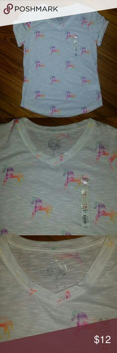 Nwt So- white tee v-neck with unicorns on it White tee v-neck with unicorns on it new SO Shirts & Tops Tees - Short Sleeve