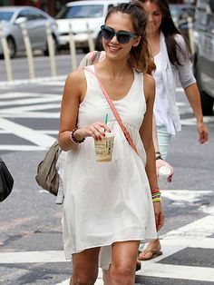 Summer time - cotton dress, high pony, cute shades and Starbucks :)
