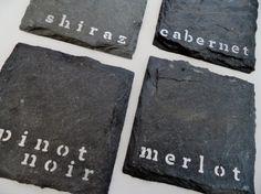 Red Wine Slate Coasters (Set of 4) Pinot Noir, Merlot, Shiraz, Cabernet on Etsy, $20.00