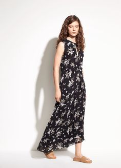 Tossed Floral Side Drape Silk Dress - Black by Vince
