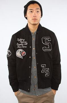 The Fear None Varsity Jacket in Black by Staple