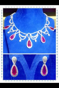 The Fiery and Captivating  Ruby and Diamond necklace/earings