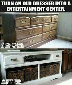 Repurpose an old dresser into a 'New' Entertainment Center! I love the idea of giving old furniture new life. If you like the idea, keep your eye out for deals on craigslist, local swap and shop boards or even the local freecycle board in your area.  Check out the full project here:  http://attheparks.blogspot.com/2013/01/dresser-turned-tv-stand-makeover.html  #Makeover #Repurpose #Reuse
