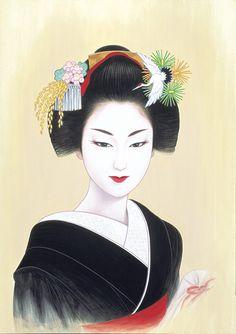 by: Ichiro Tsurato Japanese visual artist, was born in 1954 in the city of Hondo in Kumamoto Prefecture, Ichiro Tsuruta grew up in Kyushu's Amakusa Region, Japan. Geisha Kunst, Geisha Art, Art Chinois, Art Asiatique, Art Japonais, Japanese Painting, Japanese Prints, Japan Art, Japanese Culture