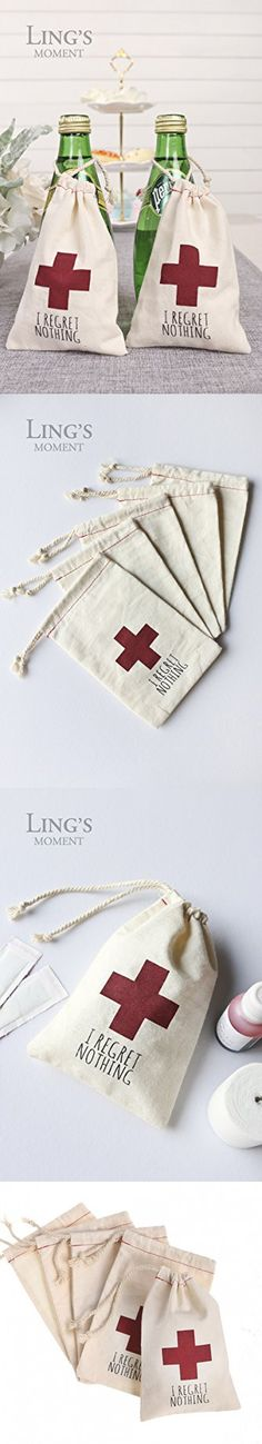 "Ling's moment 10 pcs 4""x6"" Muslin Hangover Kit Favor Bags I Regret Nothing Favor Bags Recovery Kit Survival Kit First Aid Kit Favor Bags for Bachelorette Annual Party Christmas New Years"