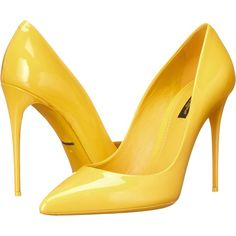 Dolce & Gabbana Vernice Pump (Sun) Women's Shoes ($437) ❤ liked on Polyvore featuring shoes, pumps, heels, yellow, slip-on shoes, high heel shoes, yellow pointed toe pumps, high heeled footwear and yellow high heel shoes