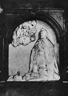 Tomb monument of Zygmunt Kazanowski, Court Marshal by Anonymous (Poland), ca. 1634, St. John's Archcathedral in Warsaw. The Court Chamberlain was portraited holding the insignium of his power the Chamberlain Key. Transferred from the demolished Bernardine Church in Warsaw to the Cathedral in 1843, destroyed during a bombing in 1944. #1630sfashion #artinpl #17thcentury #polishcostume #sculpture # marble St John's, Commonwealth, Warsaw, 17th Century, Anonymous, Poland, Cathedral, Marble, Key