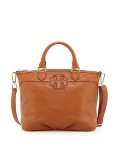 Small+Stacked-T+Leather+Satchel+Bag,+Vachetta+by+Tory+Burch+at+Neiman+Marcus.