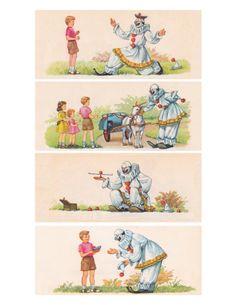 1950's American school reader clown illustrations