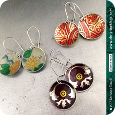 3 Pair Tiny Basin Earring Grab Bag | Stocking Stuffers | Recycled Art | Art Gift | Art Jewelry | Upcycled Jewelry | Tin Jewelry | Eco Art by Christine Terrell for adaptive reuse