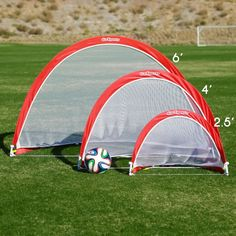 Portable Soccer Goal Set Of 2 Football Red White 4' Goals Cones Training Kids #GoSports
