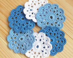 Six Crochet Mini Square Motifs Embellishments  Made from a lovely soft 100% cotton crochet thread in white, pink and lilac.  Each motif is approximately 4 x 4 cm (1 1/2 x 1 1/2 inch).  Great embellishments for your scrapbooking and sewing projects: just sew them on hair bands, hats, bags, gift tags, clothe, pillow, doll dress or glue them to scrapbook pages, greeting cards, place settings.  Larger quantities or different colors may be available on request, just convo me.  The doilie...
