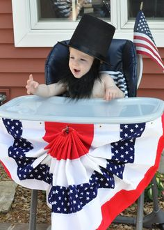Abraham Lincoln Party, first birthday, patriotic, red, white, and blue, costume