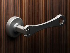 "Wrench door handle - great for the garage or a ""man cave"". I can see this as the handle to the shop door Knobs And Knockers, Knobs And Handles, Door Knobs, Door Handles, Man Cave Garage, Yanko Design, Unique Doors, Industrial Interiors, Industrial Door"
