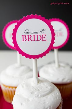Great bachelorette party & bridal shower cupcake toppers by PartyChic