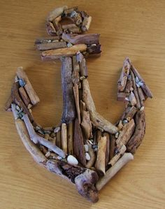 Wooden anchor made from driftwood found on beaches in Cornwall. £9.99