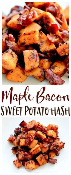 Maple Bacon Sweet Potato Hash Recipe Maple Bacon Sweet Potato Hash – a delicious sweet and savory recipe. It's the perfect side dish for breakfast, brunch, or even dinner! You can even add eggs for an easy, complete skillet meal! Easy Brunch Recipes, Healthy Breakfast Recipes, Healthy Recipes, Diet Recipes, Syrup Recipes, Recipes Dinner, Pasta Recipes, Crockpot Recipes, Chicken Recipes