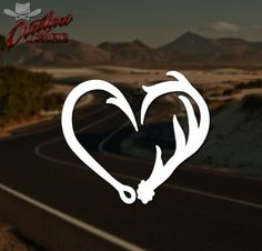 Antler-Hook-Heart-Decal-Hunting-Fishing-Car-Truck-Sticker-PICK-YOUR-SIZE-COLOR - $2.49
