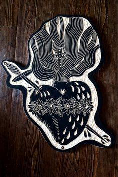 Sacred heart. 2012. I am putting this here because it looks like a linocut, or at least it could function as one.