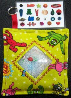 I Spy Bag - Mini with Sewn Word List and Detachable Picture List- Yo Gabba Gabba. $10.00, via Etsy.